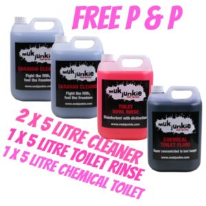 Special Offer – 1 x 5 litre Chemical Toilet Fluid, 1 x 5 litre Chemical Toilet Bowl Rinse & 2 x 5 litre Caravan / Motorhome Cleaner including free* P & P